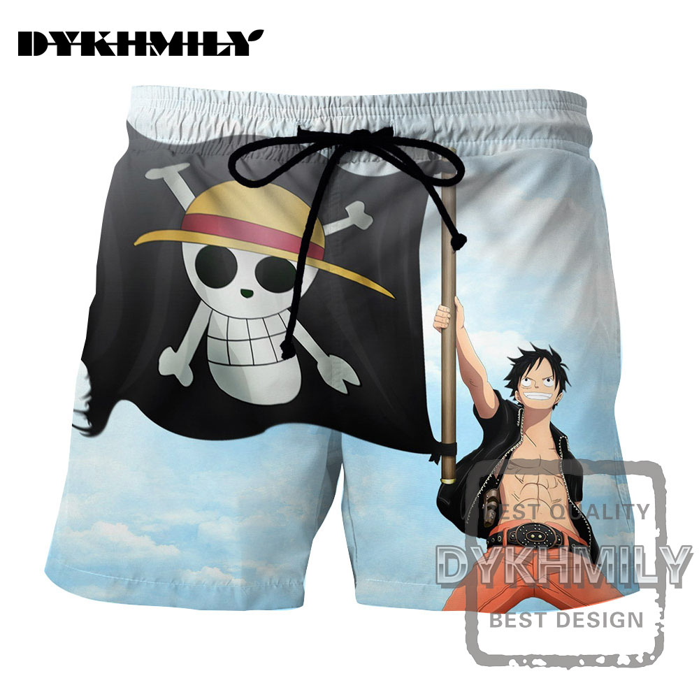 Casual Shorts Fashion Shorts Men For Anime One Piece Monkey D Luffy Printed Drawstring Shorts Unisex Casual Loose Size Costume Various Styles