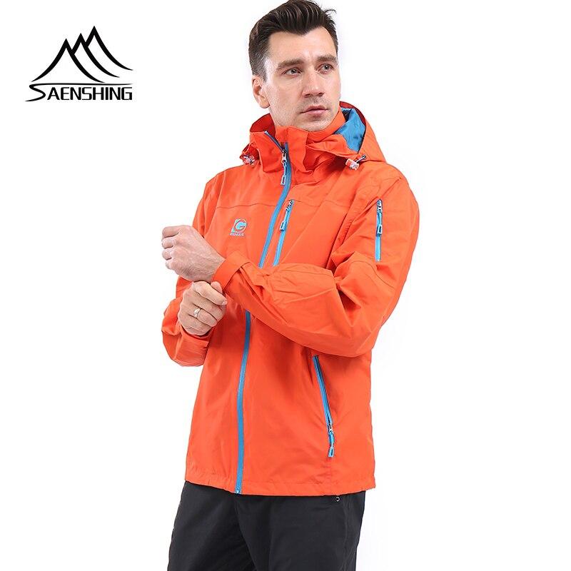 SAENSHING Men Outdoor Jacket Windstopper Waterproof Rain Warm Orange Camping Hiking Hunting Jacket Hardshell Men Cycling Jacket