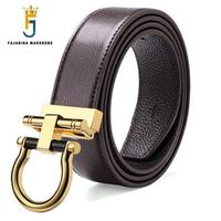 FAJARINA Men S Quality Cowhide Unique Design Personality Ring Brass Smooth Buckle Metal Brown Belts Men