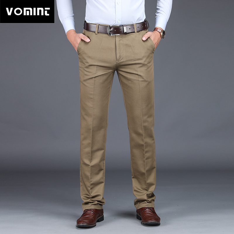 VOMINT 2019 Mens Suit Pants Fashion Stretch Slim Straight Men Pant Anti Wrinkle Casual Business Quality Trousers Male Winter