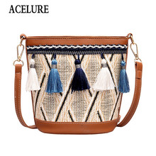 ACELURE Fashion Summer Beach Bag Tassel Bucket Straw Bag Embroidery Shoulder Bag Female Tote Bags for Women Handbags Bohemia(China)