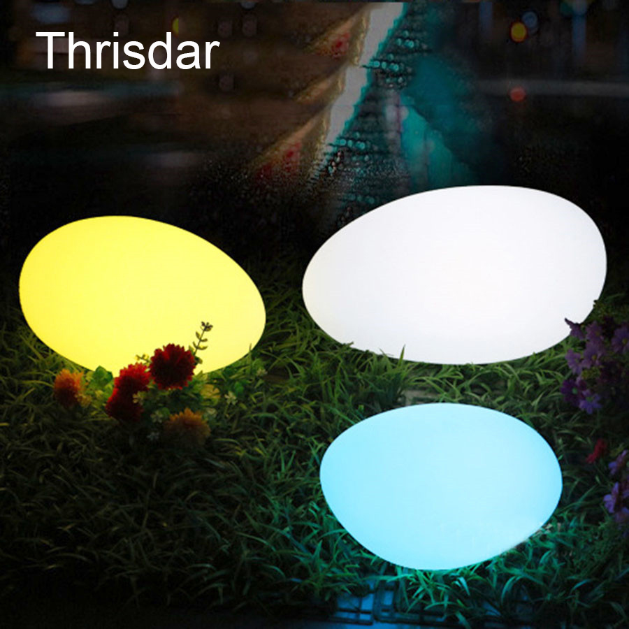 Thrisdar IP68 Stone Shape Outdoor Garden Lawn Lamps 16 Color Pond Landscape Path Floating Swimming Pool Ball LED Lamp все цены