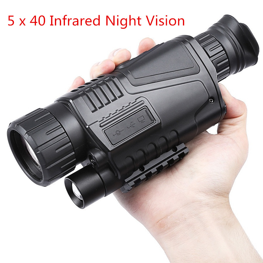 5 x 40 Infrared Digital Night Vision Telescope High Magnification with Video Output Function for Hunting Monocular 200m Veiw 5x40 hunting 200m night vision telescope with digital video camera infrared function for tactical optics monocular device