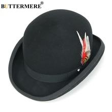 BUTTERMERE Fedora Hat Women Men Magician Deadman Wool Top Vintage Dome Caps British Feather Decoration Male Female Hats
