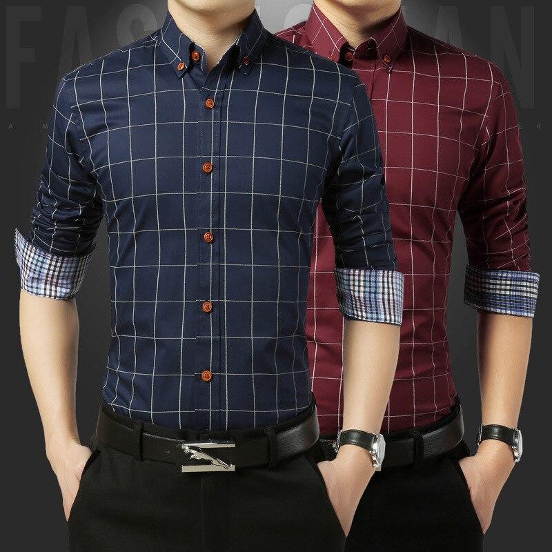 b98f5331f5f1a Caliente 2018 primavera moda hombres ropa slim fit hombres camisa de manga  larga hombres Plaid algodón casual Camisa de los hombres más tamaño 5XL
