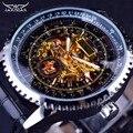 Calibração Dial Jaragar Movimento Dentro Transparente Caso de Exibição de Ouro Mens Assistir Top Marca de Luxo Masculino Relógio De Pulso Automático