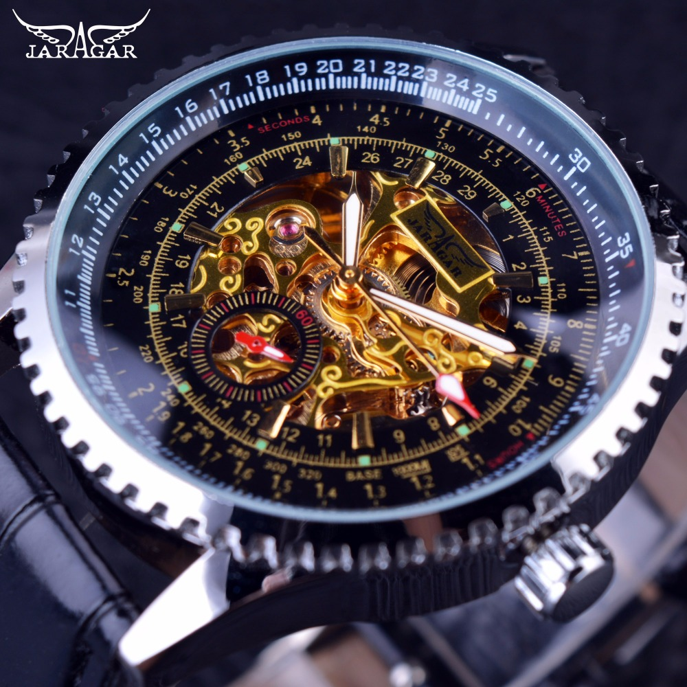 Jaragar Calibration Dial Display Golden Movement Inside Transparent Case Mens Watch Top Brand Luxury Male Wrist Watch Automatic forsining 3d skeleton twisting design golden movement inside transparent case mens watches top brand luxury automatic watches