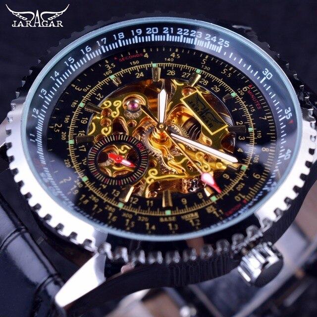 827e754e27d Jaragar Calibration Dial Display Golden Movement Inside Transparent Case Mens  Watch Top Brand Luxury Male Wrist
