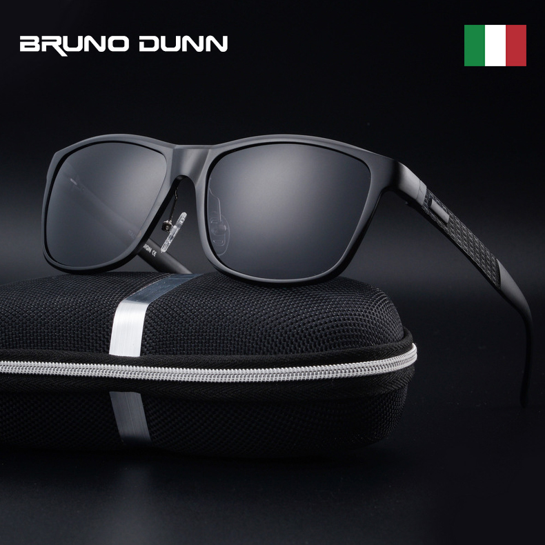 Bruno dunn Sunglasses Men Polarized 2020 Luxury Brand square metal frame male sun glasses oculos de sol masculino 2140 ray uv400(China)