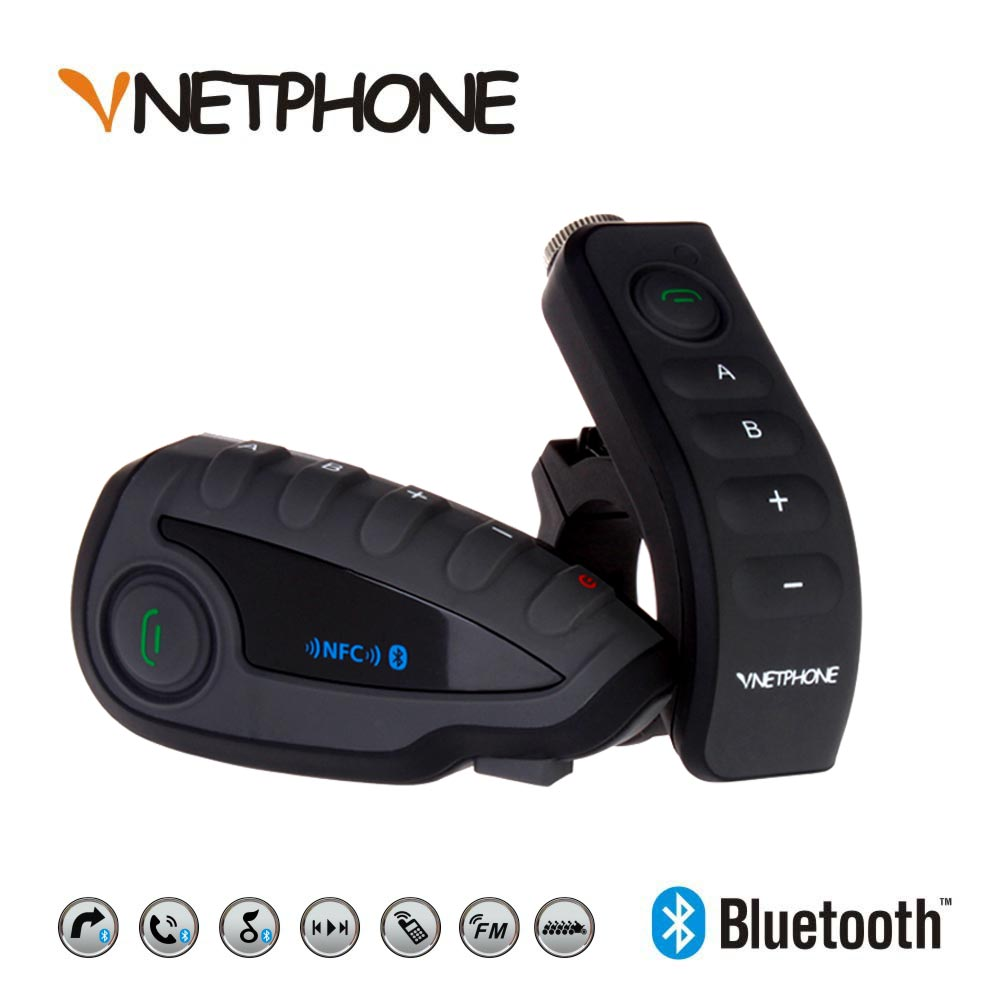 VNETPHONE V8 Intercom 5-Way Bluetooth Motorcycle Equipment Helmet Headset FM Stereo MP3 NFC Remote Control Support Smart Phone