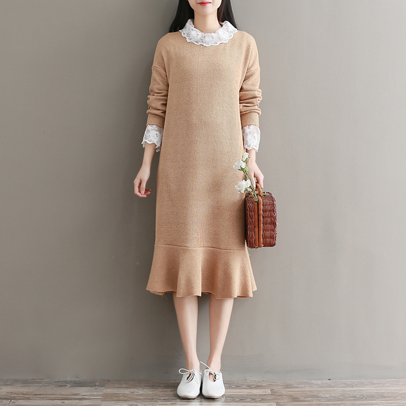 2018 spring knitted fishtail flounced lace faux two pieces dress