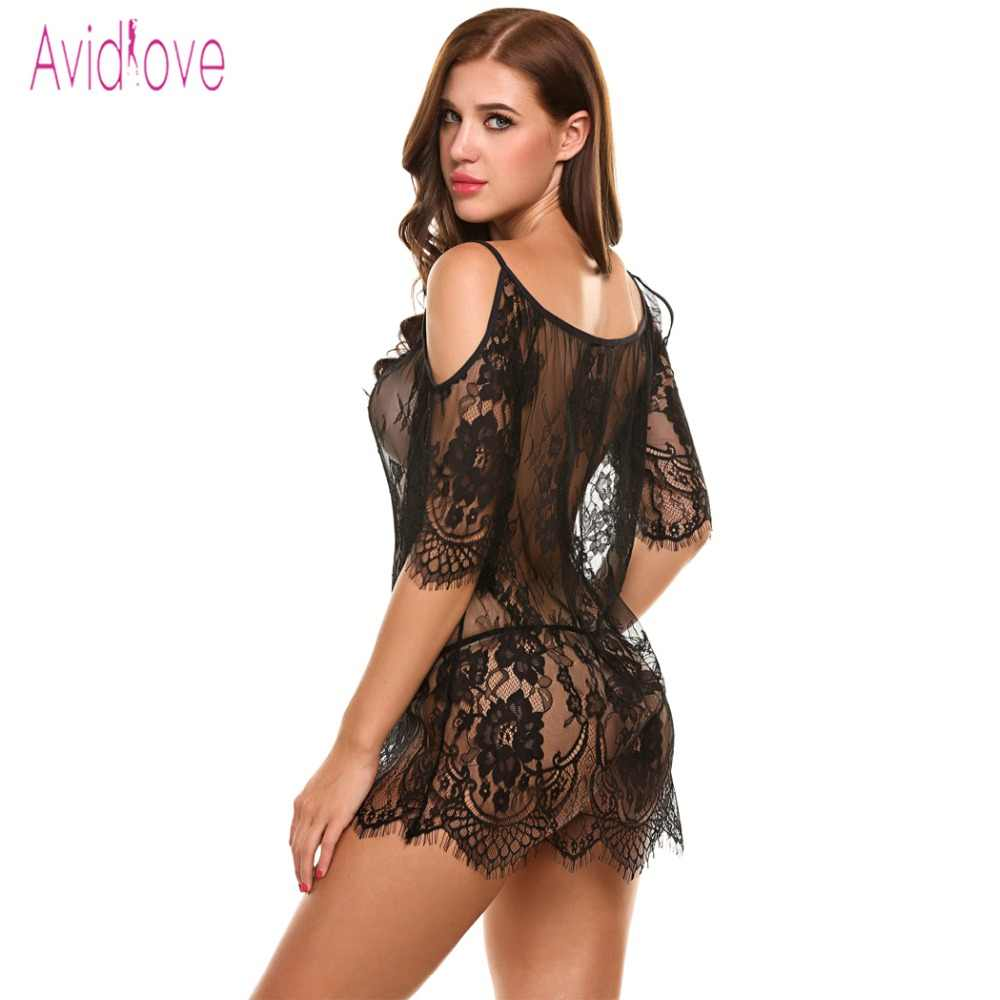 a3c1f5176d ... Avidlove Babydoll Lingerie Sexy Exotic Hot Sex Sleepwear Women Sheer  Lace Nightwear Exotic Negligee Transparent Porn ...