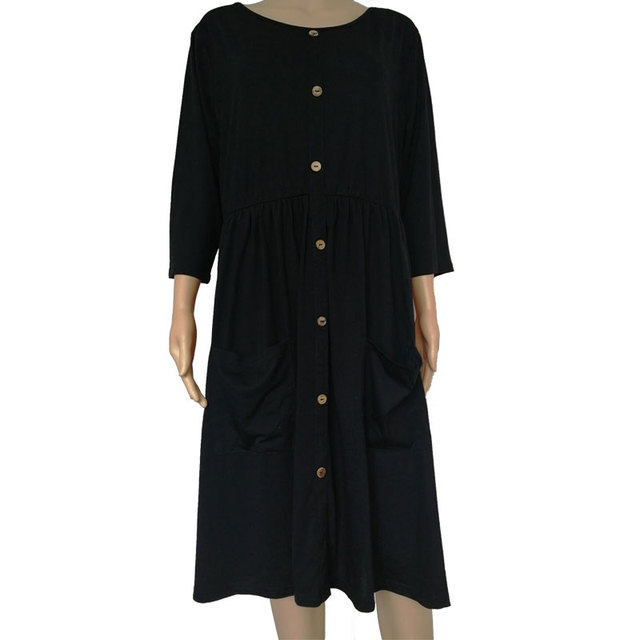 Big size 9XL dress for Fat MM 2019 Women Dress Loose pocket design solid plus size dresses women clothing party dress vestidos 4