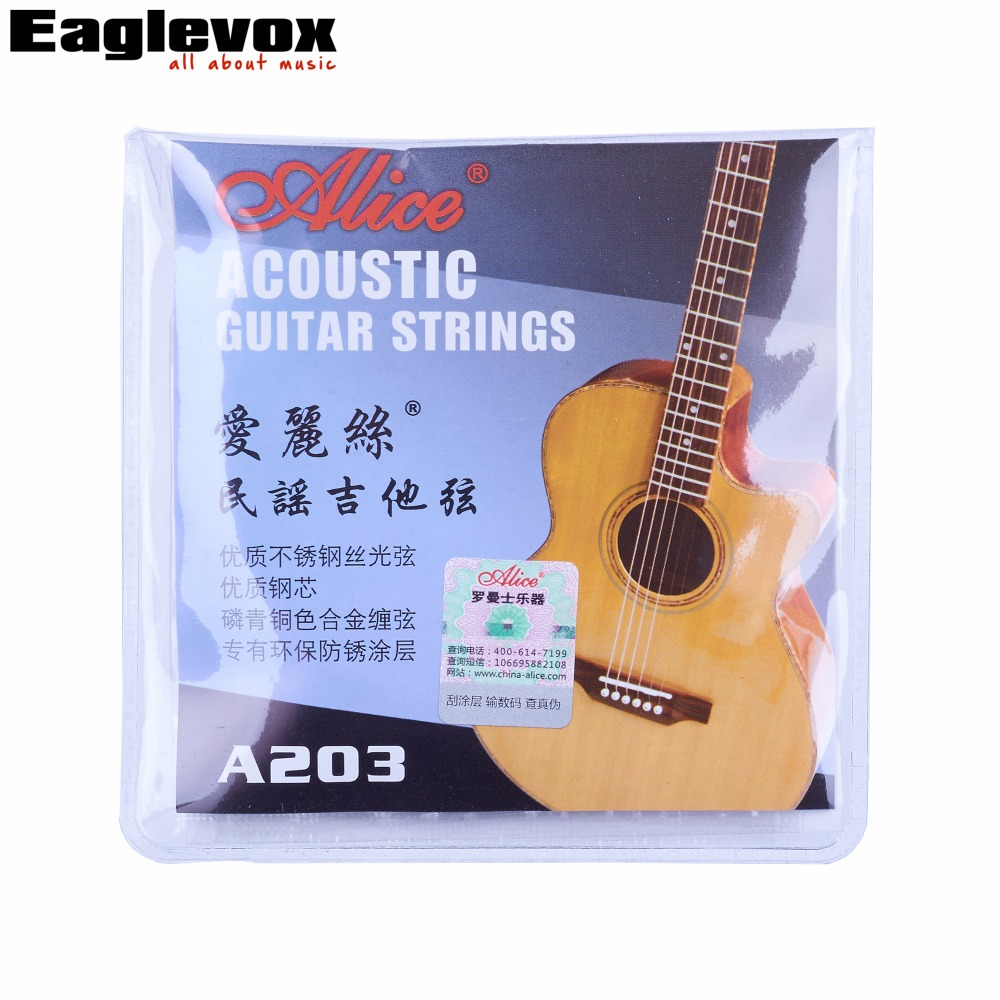 Acoustic Guitar Strings 011/012 Inch Stainless Steel Coated Copper Alloy Wound Alice A203