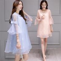Royal Style Maternity Clothes 2pcs Organza Maternity Dresses Flare Sleeve Elegant Pregnant Dress For Pregnancy Women