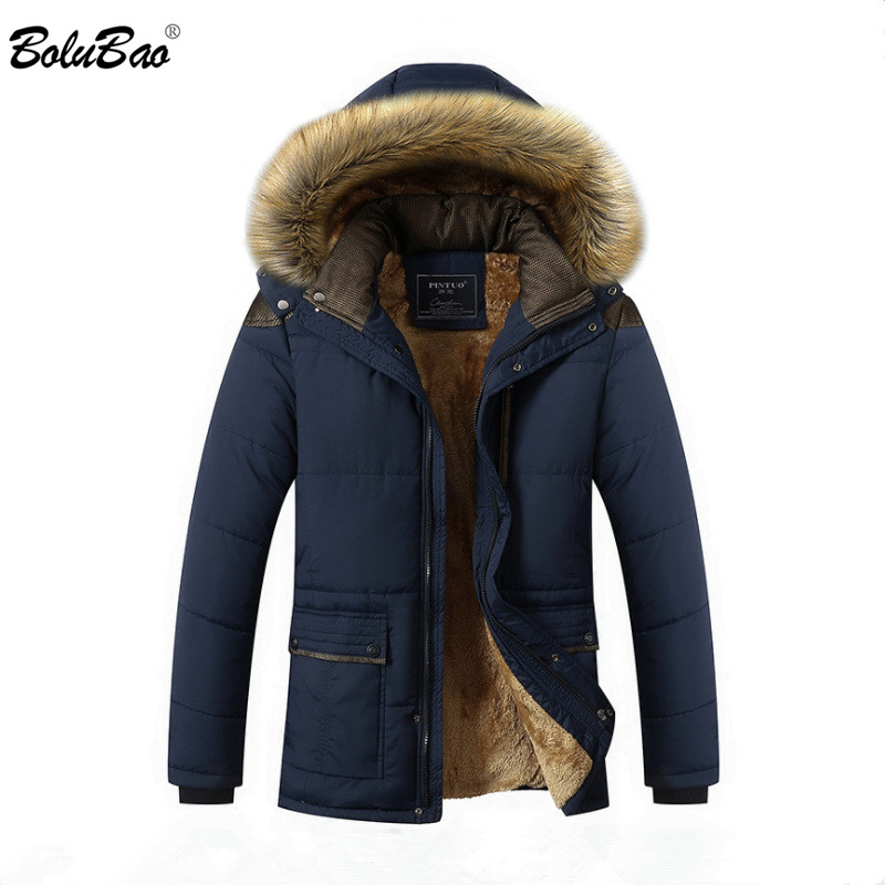 BOLUBAO Men Winter Parkas Coat Men's Fashion Brand Solid Color Zipper Warm Thick Hooded Jacket Male Casual Parkas Overcoat