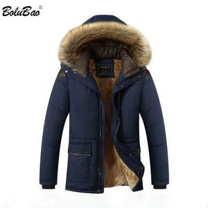 Image 1 - Мужская Повседневная парка BOLUBAO, однотонная теплая Толстая куртка на молнии с капюшоном, пальто для зимы