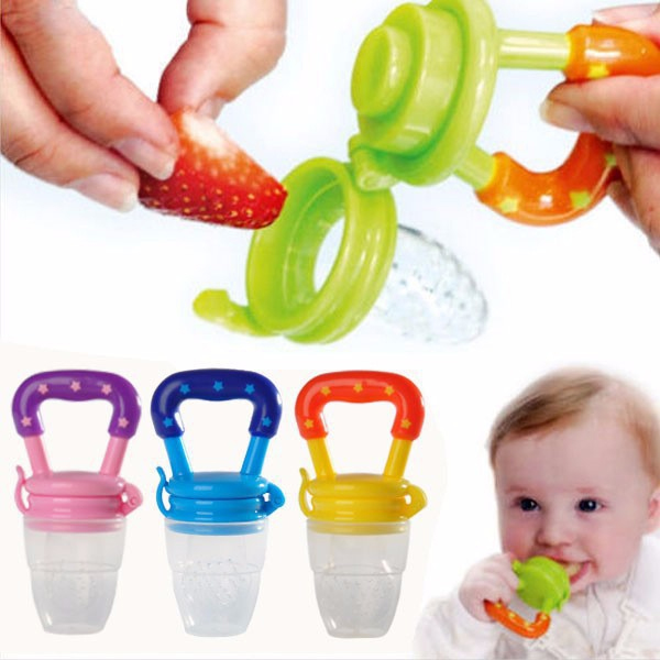 Baby Teethers Portable Infant Fruit Nipple Bite Silicone Teether Safety Feeder Pacifier Toys 6+ Month