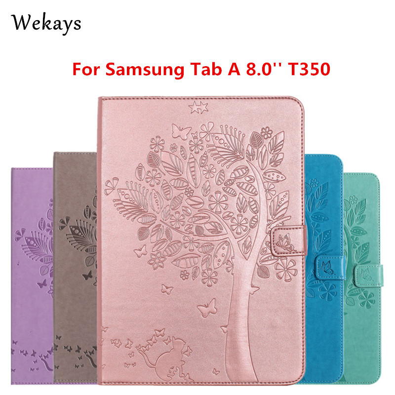 Wekays For Samsung Galaxy Tab A 8.0  T355 T350 T351 Case Luxury Cartoon Cat and Tree Leather Flip Case Stand Full Cover Capa