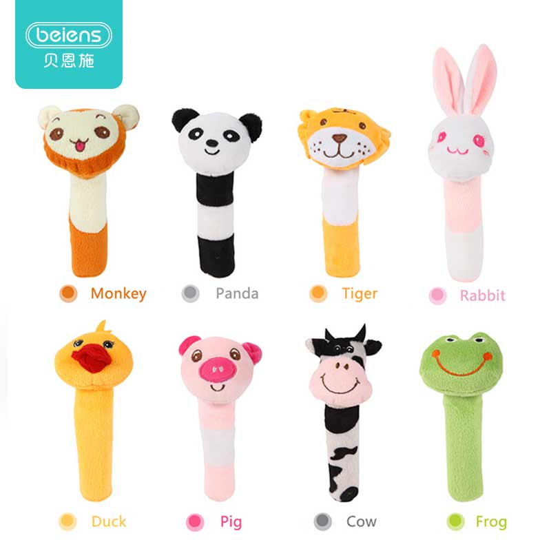 Beiens Baby Rattle Mobile Cute BB Stick Baby Toys Different Animal Squeaker Bar Rattle Toddler Plush Toy Send The Color Randomly