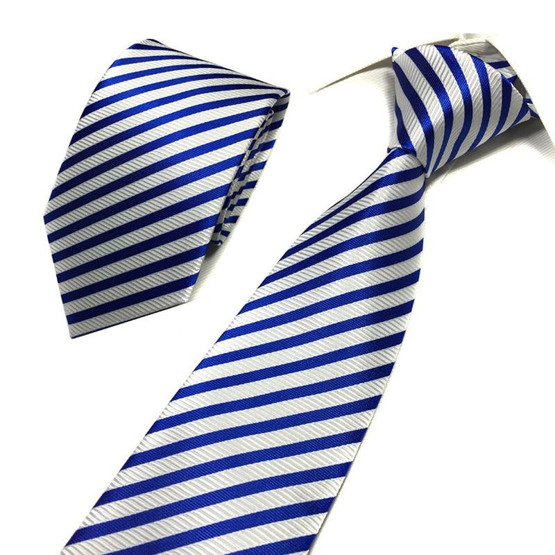 8 CM Wide Silk Ties For Men Gravatas Striped Solid 2019 New Men's Neckties Business Black Wedding Suit Neck Tie Red White Blue