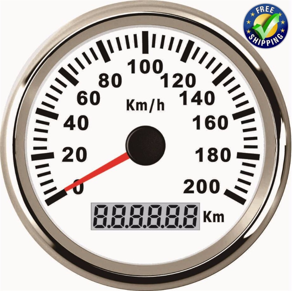 85mm GPS Speedometers 0-200km/h Speed Odometer Waterproof Speed Indicator 9-32v with GPS Antenna and Red Backlight for Car Boat 1pc 85mm auto gps speed odometers trip meters cog 0 200km h waterproof gps speedometer indicators with 8 kinds backlight color