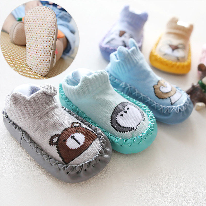 First Walkers Newborn Baby Shoes Toddler Prewalker Shoes Baby Boy Girl Sweat Cartoon Cloth Shoes