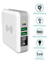 3 em 1 adaptador de viagem qi sem fio carga power bank 6700mah bateria pacote carga parede para iphone x xs xr max samsung s10 s9