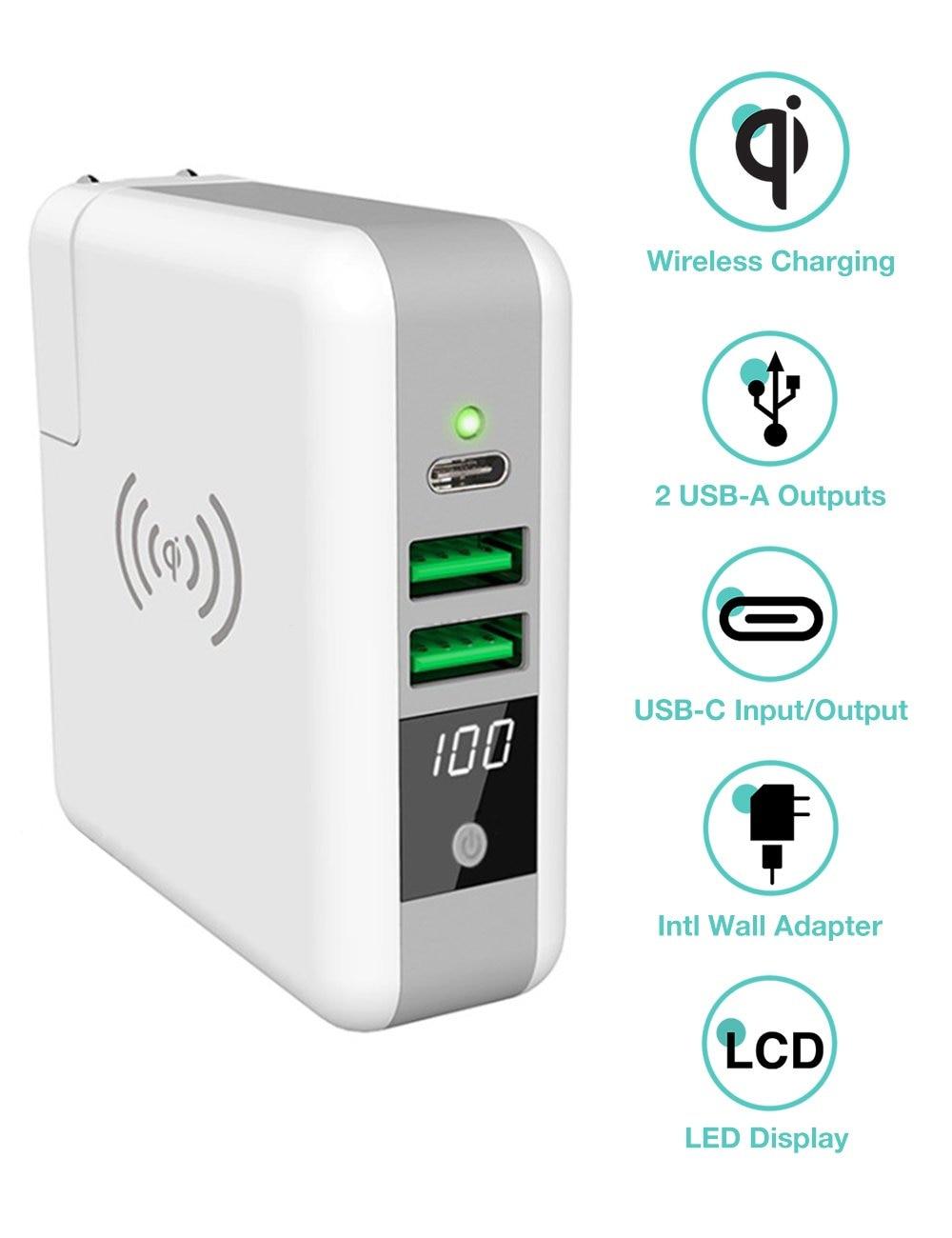 3 en 1 adaptateur de voyage Qi sans fil chargeur batterie externe 6700 mah batterie pack charge murale pour iphone X XS XR MAX Samsung S10 S9