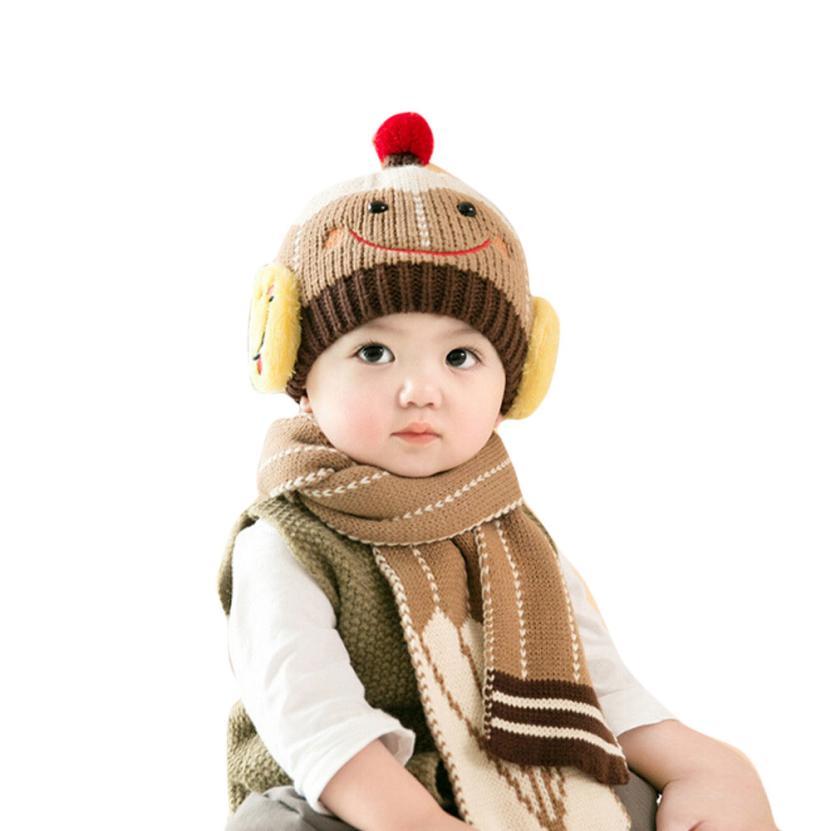 2017 Lovely New Winter Children Skullies & Beanies Scarf Hat Set Baby Boys Girls Knitted kids Hats & Caps Gorro Infantil #22