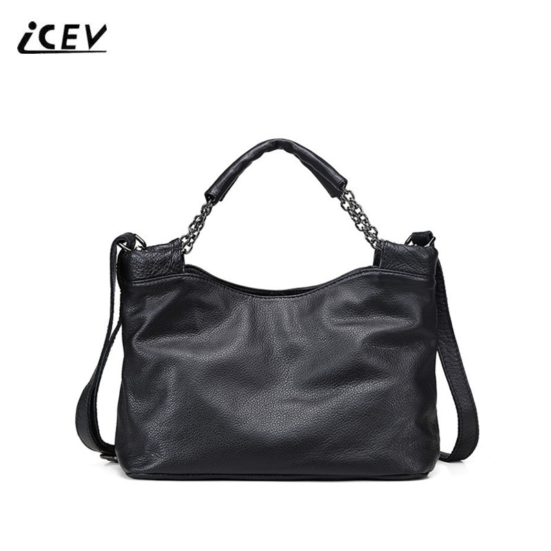 ICEV New Fashion Genuine Leather Handbag Organizer Women Leather Handbags Designer Chains Handbags High Quality Ladies Totes Sac icev new brands simple classic female cow leather designer handbags high quality genuine leather handbags women leather handbags