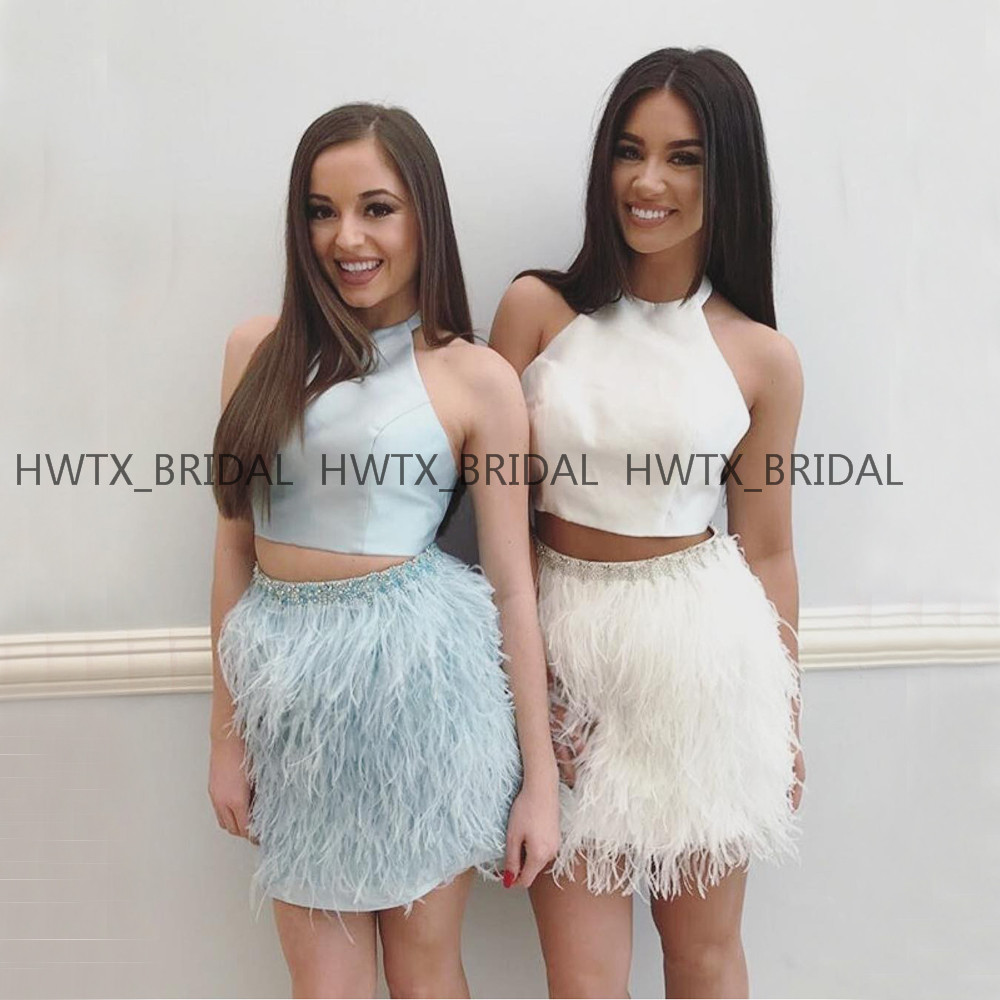 New Feather Short Prom Dresses 2019 Halter A Line Two Pieces Mini Satin Homecoming Party Dress Women Formal Occasion Wear Custom