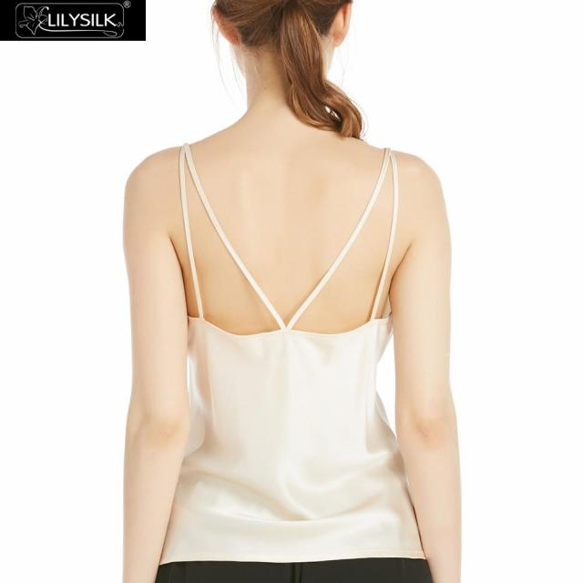 LILYSILK Women Silk Camisole 22MM Comfortable Soft Double Straps Champagne Ladies Fashion Basic Tank Tops