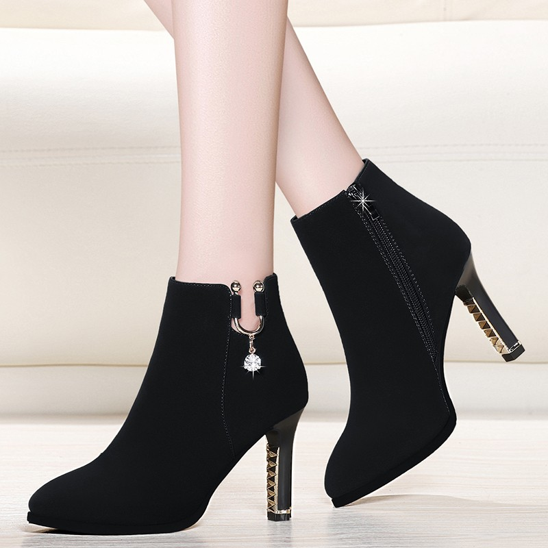 New Fashion Pointed Toe Buckle Cow Suede Leather Short Boots Women's Ankle Boots Woman High Heels Spring Autumn Shoes YG-A0218