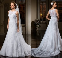 Hot Selling A-line Lace Appliques Scoop Wedding Dresses Detachable train Bridal Gowns Vestido de noiva 2015