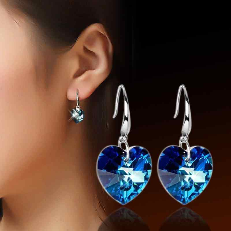 New Fashion Crystal Pendant Heart Earrings With Austrian Blue Crystal 2018 Lady Gift Earrings Jewelry
