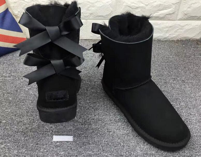 2018 Australia Style women real fur Snow Boots Cute two Bows Waterproof Slip-on girls Winter sheep Leather Boots 34-44