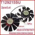 O envio gratuito de 2 pçs/lote everflow t129215su 12 v 0.5a 94mm para asus GTX780TI 280 290 280X R9 290X GTX780 Placa Gráfica Arrefecimento fã
