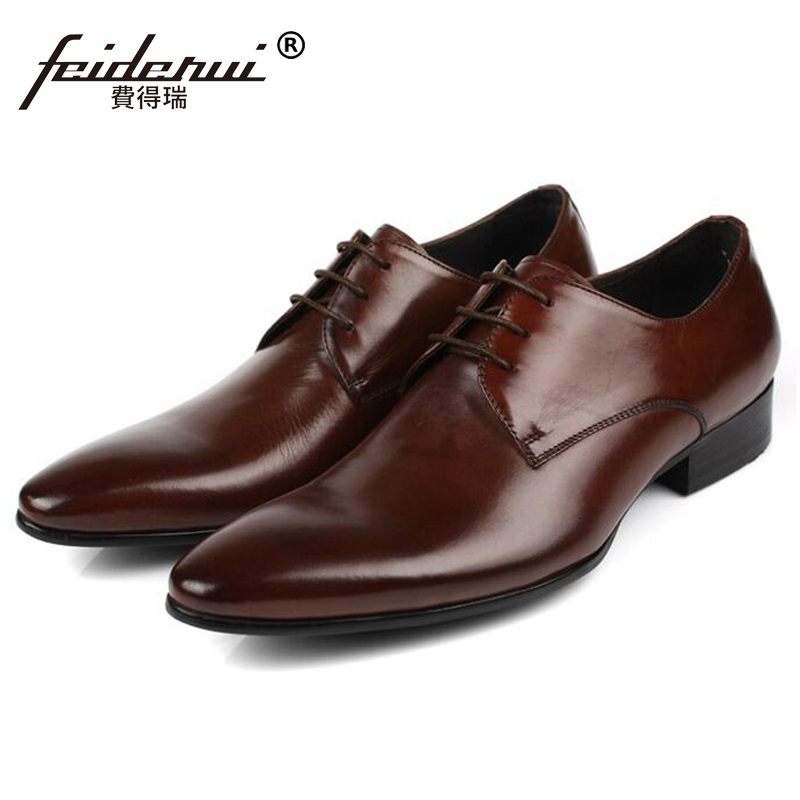 2018 Hot Saling Man Formal Dress Shoes Genuine Leather Business Oxfords Classic Pointed Toe Men's Wedding Flats For Bridal AS21 pjcmg spring autumn men s genuine leather pointed toe slip on flats dress oxfords business office wedding for men flats shoes