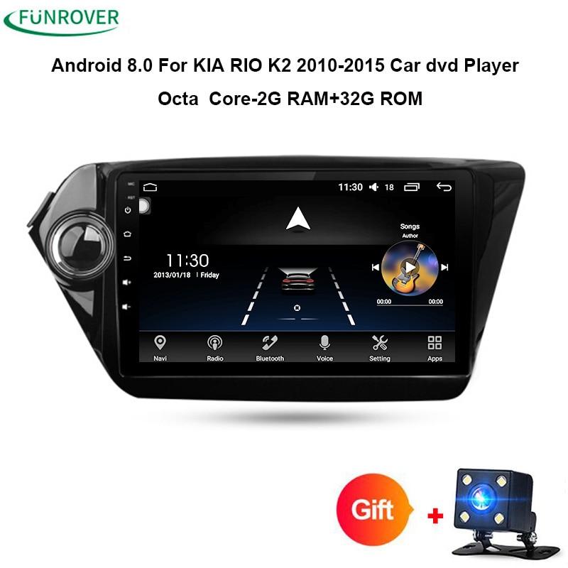 Funrover octa core android 8.0 radio tape recorder car dvd player gps for Kia k2 RIO 2010 2011 2012 2013 2014 2015 navigation FM
