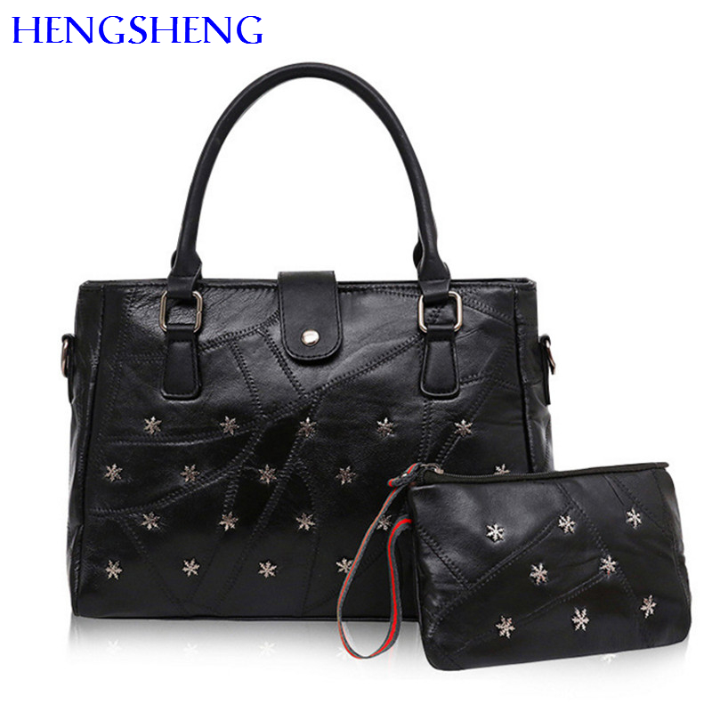 Hengsheng Hot selling twinset sheepskin women shoulder bags and genuine leather women hand bag for rivet women messengers bags ...