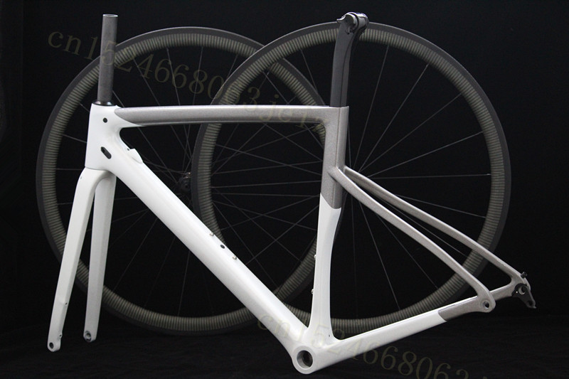 Combination Frame+Wheels Disk Aero Road Cyclocross Frame 100*12 142x12mm Disc Disk Brake 700C Frameset T1000 Axle And QR