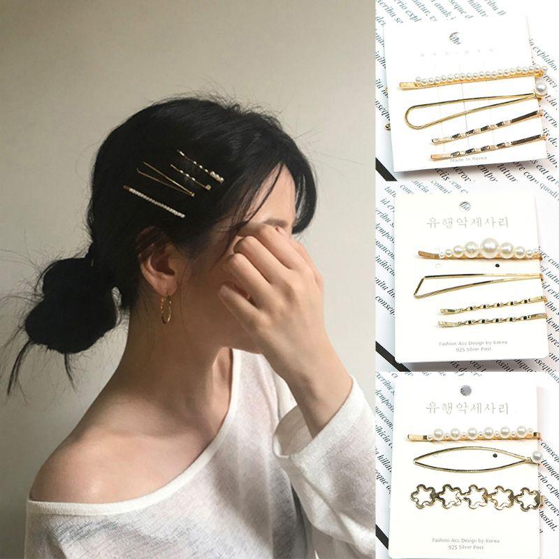 1 Set Korean Geometric Metal Alloy Bobby Pins Ladies Girls Imitation Pearl Flower Star One Word Hair Clips Side Bangs Barrettes in Women 39 s Hair Accessories from Apparel Accessories