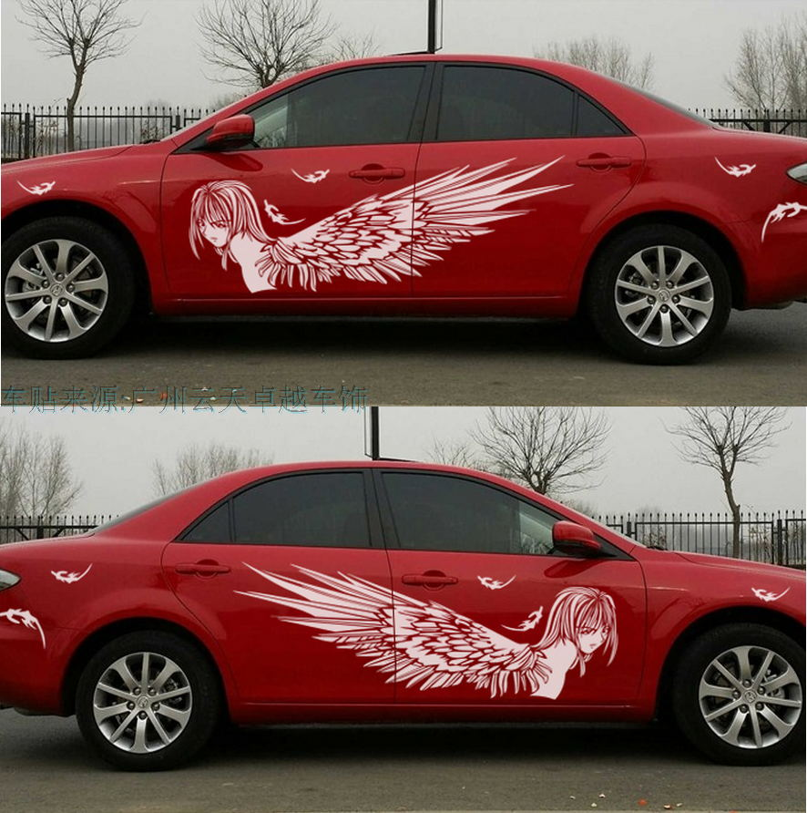Red car sticker design - New For Most Car Truck Girl Angel Beauty Graphics Vinyl Side Decals Whole Body Hood Sticker