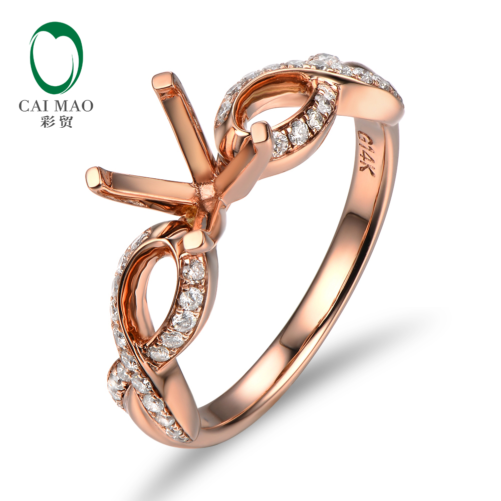 Promotions Unique 7mm Round Shape 14K Rose Gold & 0.25ct Diamond Anniversary Semi Mount  ...