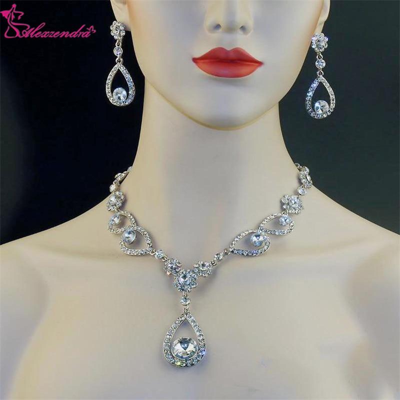Alexzendra Wedding Jewelry Flower Shape Silver Classic Bridal Necklace Luxury Crystal Rhinestones Jewelry for Women