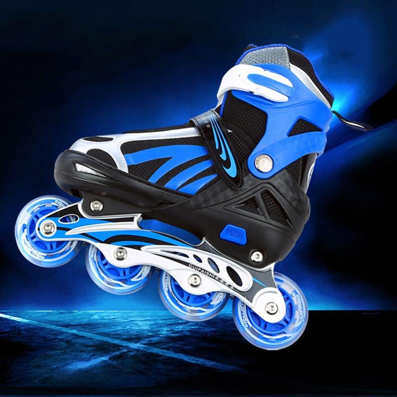 Professional Soft Flashing Rollerblade Inline Skates 8 Wheels Lighted Roller Skate Shoes For Kids Outdoor Fingure Skating