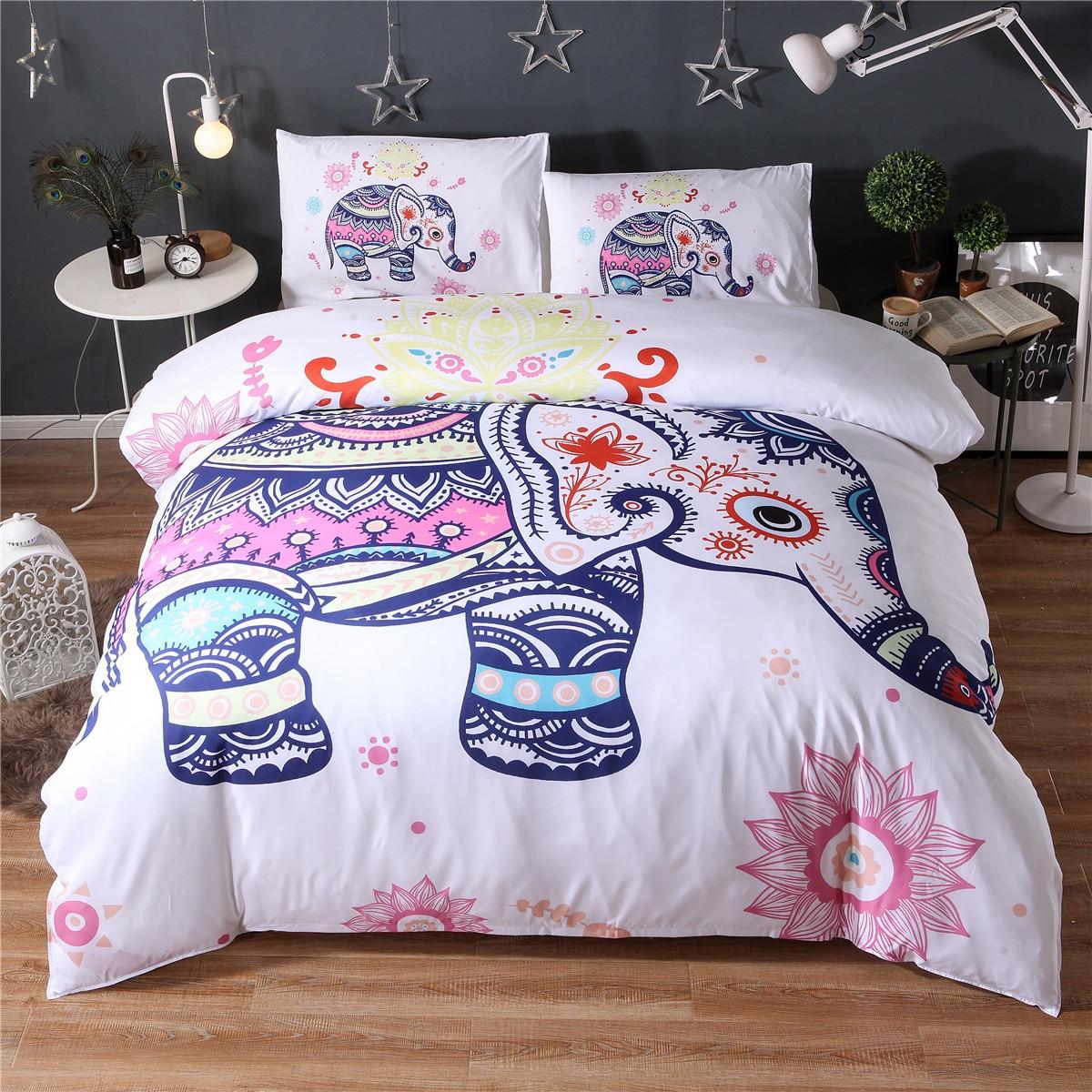 Indian Hippie Elephant Mandala Bedding Set King Size Bed Sheet /& 2 Pillow Cover