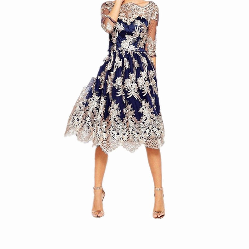 Vintage Dressing Gown: 2017 Autumn Vintage Floral Embroidery Midi Dress For Women