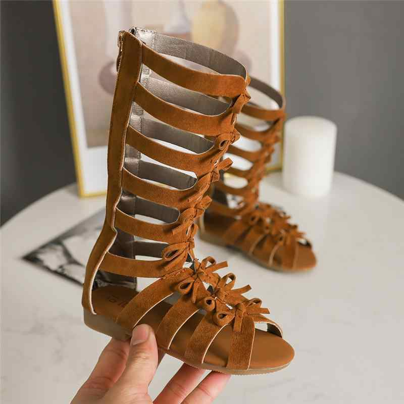 Girls Gladiator Sandals Boots Scrub Leather Summer Brown Black High-top Fashion Kid Sandals Toddler Baby Shoes A607